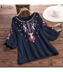 zanzea mujeres del verano de las tapas ocasionales flojos de las señoras floral de la playa camisas de la blusa pullover -azul marino