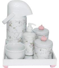 kit higiene espelho completo porcelanas, garrafa e capa coroa rosa quarto bebê menina