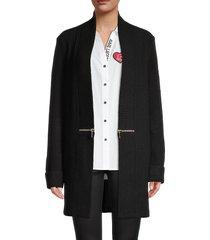 karl lagerfeld paris women's zip-accent cardigan - black - size xs