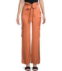 young fabulous & broke women's self-tie wide-leg pants - butternut - size m