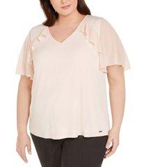 calvin klein plus size flutter-sleeve ruffled blouse