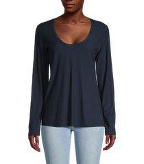 james perse women's scoopneck long-sleeve t-shirt - kona - size 0 (xs)