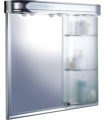 armário em alumínio para banheiro de sobrepor master com 1 porta e iluminação cromado