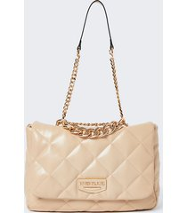 river island womens cream faux leather quilted shoulder bag