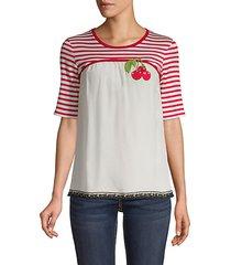 cherry striped silk cotton tee