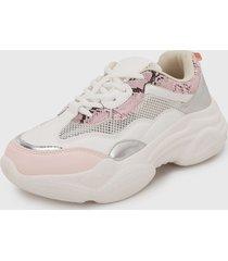 tenis blanco-rosa-plateado keddo