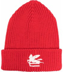 etro wool red hat with logo patch