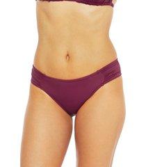 women's la blanca island goddess hipster bikini bottoms, size 0 - burgundy