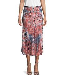 young fabulous & broke women's tie-dye midi skirt - wine multi - size xs