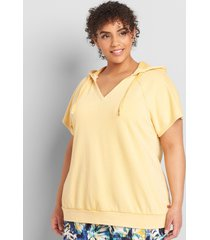 lane bryant women's livi short-sleeve hooded sweatshirt 38/40 artisan's gold