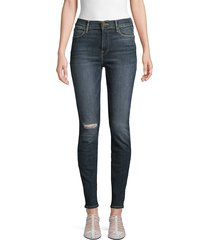 frame denim women's le high rise skinny jeans - dark blue - size 24 (0)