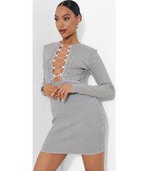 mini jurk met veters en naaddetail, grey