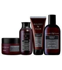 combo malbec club: loção pós barba, 150ml + shampoo para barba, 100ml + pasta barba e bigode, 85g + creme de barbear, 150g
