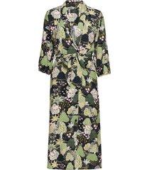 slfmarina-florenta 3/4 aop midi dress b knälång klänning multi/mönstrad selected femme