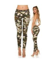 sexy camo jeans gebruikte used look klinknagels & patches leger-kleurig