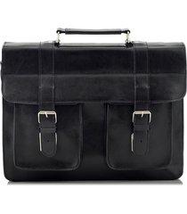 czarna torba ze skóry naturalnej do pracy