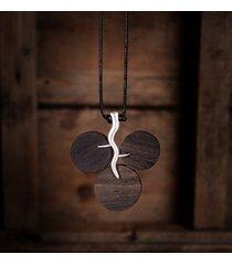 collane di gioielli etnici d'argento nero rotondo di fascino del sandalo delle collane per le donne