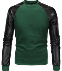 color block pu spliced long sleeve sweatshirt