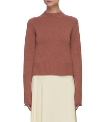 stand collar ribbed hem cashmere sweater