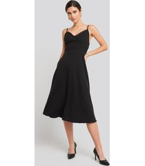 trendyol thin strap satin detailed midi dress - black