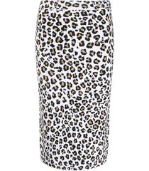 versace leopard knit pencil skirt - white