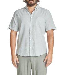 men's big & tall johnny bigg tahiti slub short sleeve linen blend button-down shirt, size 6x-large - green