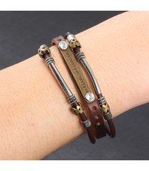 braccialetti multistrato a pendente in metallo vintage in pelle punk accessori casual regalo per uomo