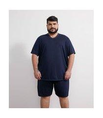 pijama curto liso básico - plus size | viko | azul | eg ii