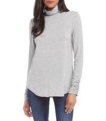 women's karen kane shirred sleeve turtleneck top, size large - grey
