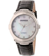 empress francesca automatic black leather watch 35mm