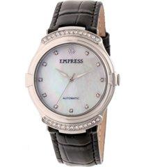 empress francesca automatic black leather watch 35mm