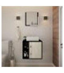 conjunto para banheiro gabinete com cuba q32 e espelheira soft 500 preto onix com snow