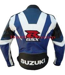 suzuki gsxr blue real leather motorcycle motorbike biker protection jacket coat