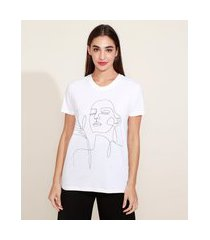 t-shirt feminina mindset rosto artsy manga curta decote redondo off white