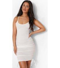 geribbelde strand jurk met touwtjes, white