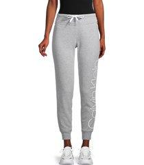 calvin klein performance women's graphic cotton-blend jogger pants - pearl heather grey - size l