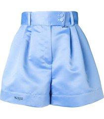 styland flared high-waisted shorts - blue