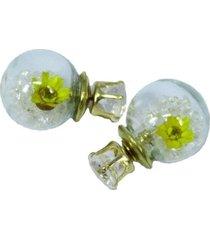 aretes topo cristal blaco flor  ar-10976
