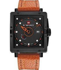 reloj de cuarzo deportivo de lujo para hombre de marca diales rectangulares relojes de pulsera de cuero con fecha automática impermeable - marrón