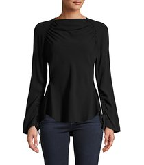 ruched long-sleeve top