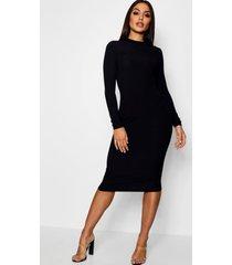 geribbelde midi jurk met hoge kraag en lange mouwen, zwart