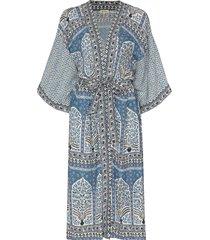 boteh arch floral-print beach robe - blue