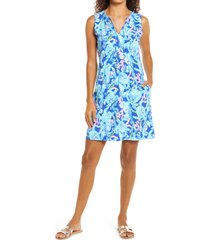 women's lilly pulitzer johana cover-up shift dress, size small - blue
