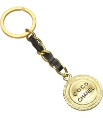 chanel coco key chain gold, black sz: