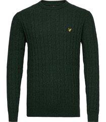 cable jumper stickad tröja m. rund krage grön lyle & scott