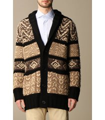dondup cardigan dondup over cardigan in wool and silk with jacquard pattern