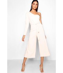 one sleeve bustier style jumpsuit, blush