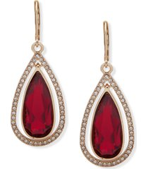 anne klein gold-tone large stone & crystal drop earrings