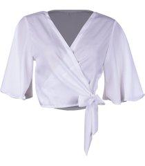 blusa kimono linda d floral branco