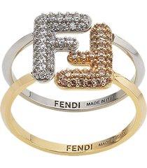 fendi crystal-embellished maxi logo ring - gold